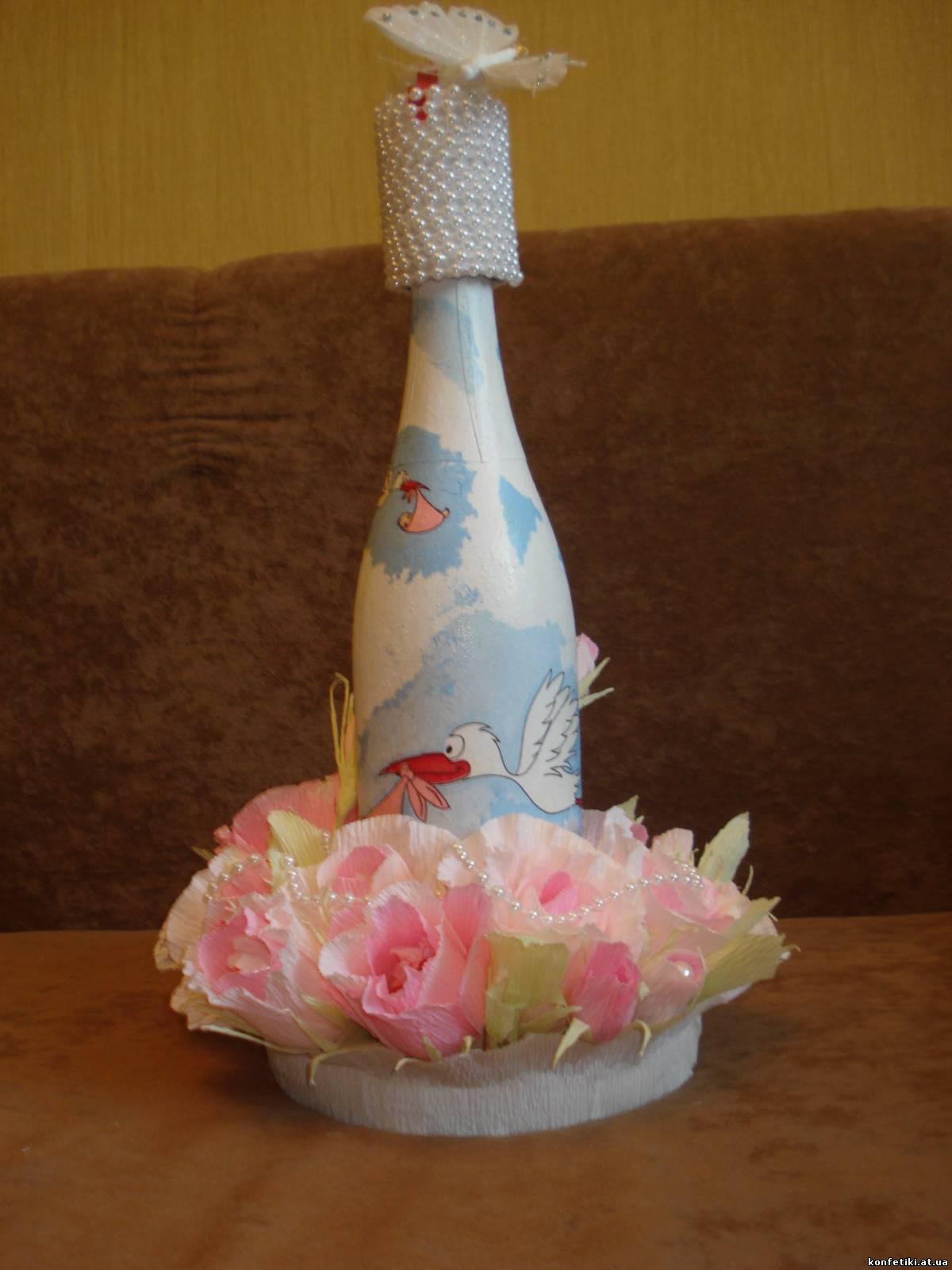 Украсить бутылку шампанского своими руками мастер класс 63